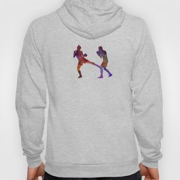 Woman boxer boxing man kickboxing silhouette isolated 02 Hoody
