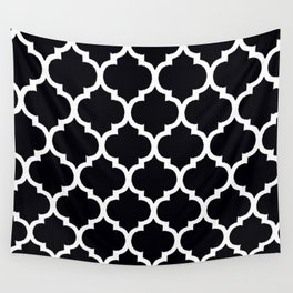 Moroccan Black and White Lattice Moroccan Pattern Wall Tapestry