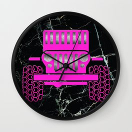 Jeep Pink Marble Wall Clock