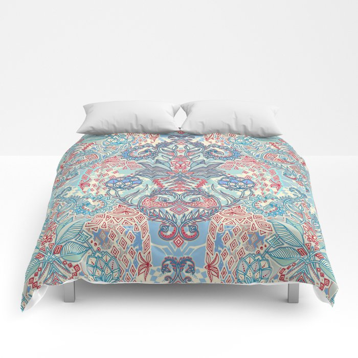 Botanical Geometry - nature pattern in red, blue & cream Comforters