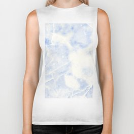 Blue and White Marble Waves Biker Tank