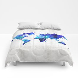 World Map 17 - Blue Art By Sharon Cummings Comforters