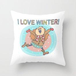 I Love Winter Girl Throw Pillow