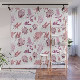 Beautiful Pink Australian Native Floral Pattern Wall Mural