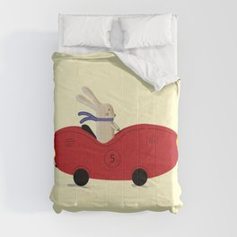 Rabbit and his car Comforters