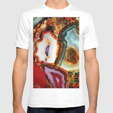 Agate, the Layers of our Earth Mens Fitted Tee MEDIUM White