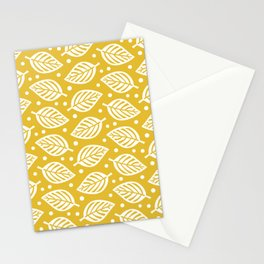 Mid Century Modern Falling Leaves Pattern Mustard Yellow Stationery Cards