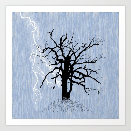 Gnarled Tree and Lightning Art Print