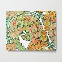 Romance in Paris, Art Nouveau Floral Nostalgia Metal Print