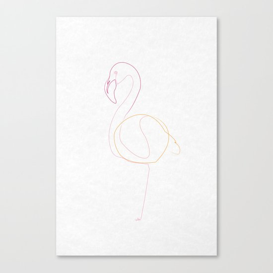 one line flamingo Canvas Print
