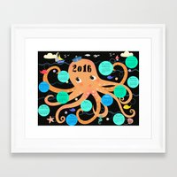 calender Framed Art Prints featuring Octopus poster Calender 2016 by Elisandra