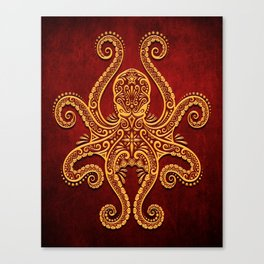Intricate Red and Yellow Octopus Canvas Print