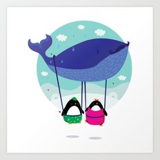 Whale ride Art Print
