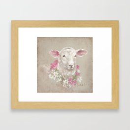 Sheep With Floral Wreath by Debi Coules Framed Art Print
