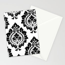 Decorative Damask Art I Black on White Stationery Cards