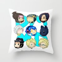 dmmd Throw Pillows featuring DMMD- chibis by prpldragon