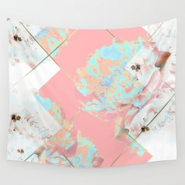 Abstract Blush Geometric Peonies Flowers Design Wall Tapestry