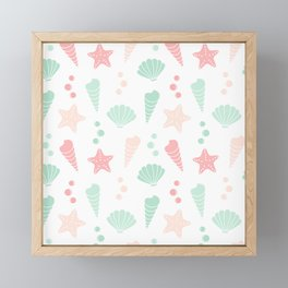 cute colorful summer pattern with seashells and starfishes Framed Mini Art Print