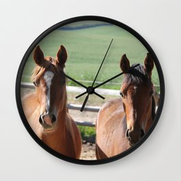 Horse Friends Photography Print Wall Clock