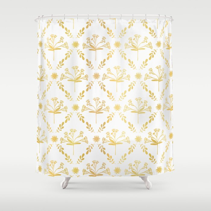Luxe Gold Foil Floral Lattice Seamless Vector Pattern, Hand Drawn Damask Shower Curtain