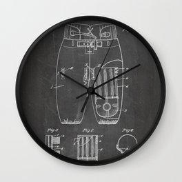 Football Pants Patent - Football Art - Black Chalkboard Wall Clock