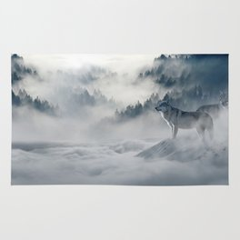 Wolves Among the Snowcapped Mountain Rug