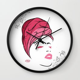 Lady Wrap (pink) Wall Clock