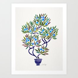 Bonsai Fruit Tree – Blue Palette Art Print