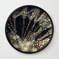gold glitter Wall Clocks featuring glitter and gold by Bonnie Jakobsen-Martin