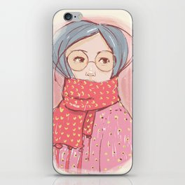 Girl with scarf iPhone Skin