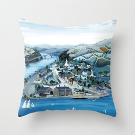 Factory Along The River by Kathy Jakobsen Throw Pillow