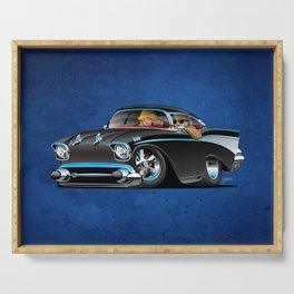 Classic hot rod fifties muscle car with cool couple cartoon Serving Tray
