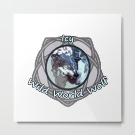 Icy Wild World Wolf Metal Print