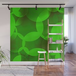 Abstract soap  of green molecules and bubbles on a light background. Wall Mural