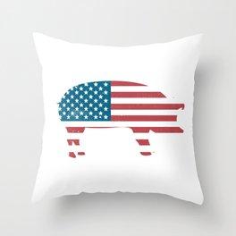 Pig American Flag Pig America Lover  Throw Pillow
