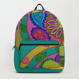Paisley heart magic Mandala, acrylic painting on tile Backpack