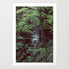 Waterfall Green Trees Color Photography Art Print