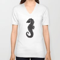 sea horse V-neck T-shirts featuring SEA HORSE by Matthew Taylor Wilson