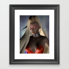 Mask long hair girl Framed Art Print