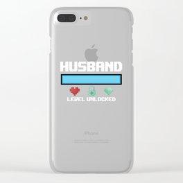 Husband Gift Husband Level Unlocked New Husband Gamer Clear iPhone Case