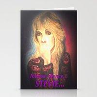 stevie nicks Stationery Cards featuring Stevie Nicks- Intense Silence by Anne Merritt