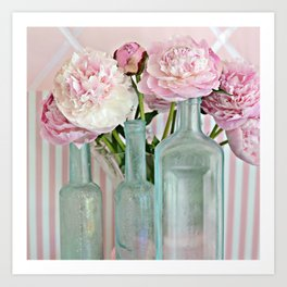 Peonies Shabby Chic Cottage Pink Aqua Peony Bottles Art Print Home Decor Art Print