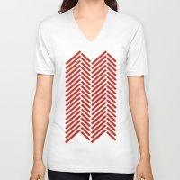 herringbone V-neck T-shirts featuring Herringbone Candy by Project M