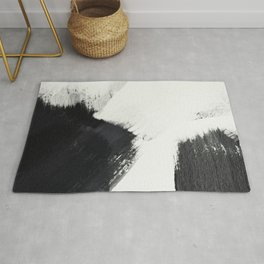 brush stroke black white painted II Rug