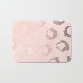 Rose Gold Pastel Pink Dot Circles Bath Mat