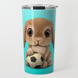 Cute Baby Bunny With Football Soccer Ball Travel Mug