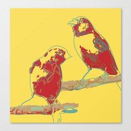 Abstract Sunshine Bird Illustration Canvas Print
