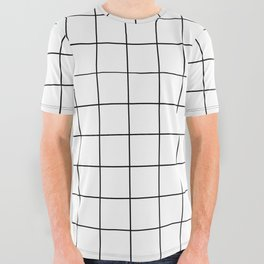 Grid Simple Line White Minimalist All Over Graphic Tee