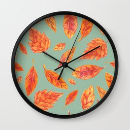 Fall is in the Air Leaves Wall Clock