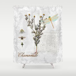 Chamomile Herb, Dragonfly Bumble Bee Botanical painting, Cottage style Shower Curtain